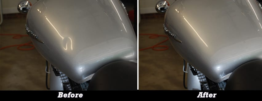 Before and After Motorcycle Dent